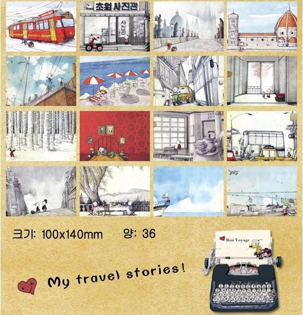 Aliexpress Buy 36 My Travel Stories Postcard Greeting Card – Birthday Cards Assorted