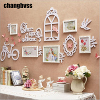 Spring Design Lovely Bicycle Bird Decor Photo Frame Wall,5 pcs/set White/Pink Wooden Wall Hanging Picture Frame,marco foto