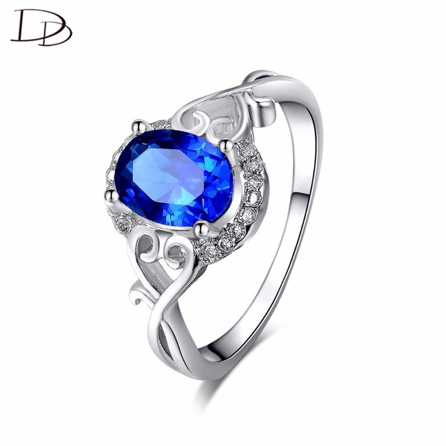 DODO Elegant Deep Blue Austrian Crystal Jewelry White Gold Color Rings For Women