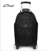 Letrend Black Travel Bag Spinner Suitcases Wheel Trolley Business Rolling Luggage large capacity Carry On Cabin Luggage Backpack