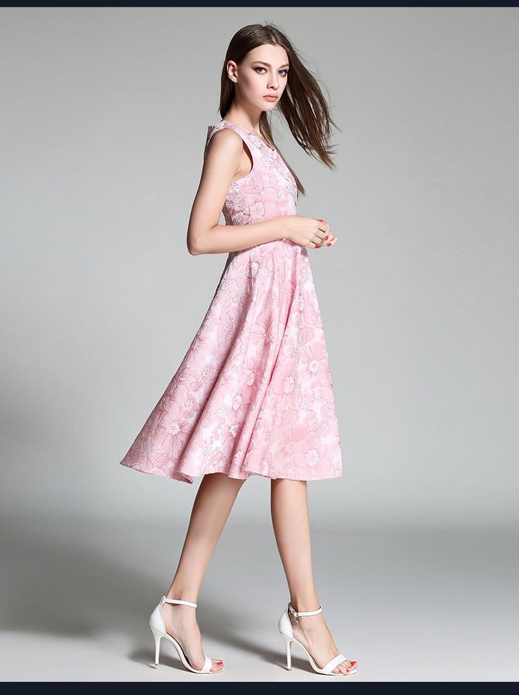 2017 Summer Europe Hot Sale High-end Custom Blue Pink Women V-Neck Print Dresses High Quality Sleeveless Dress In Stock G8015