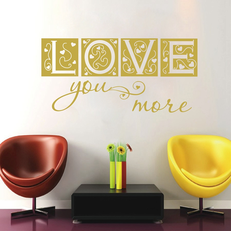 LARGE SIZE FREE SHIPPING BEDROOM DECOR LOVE YOU MORE VINYL WALL ...