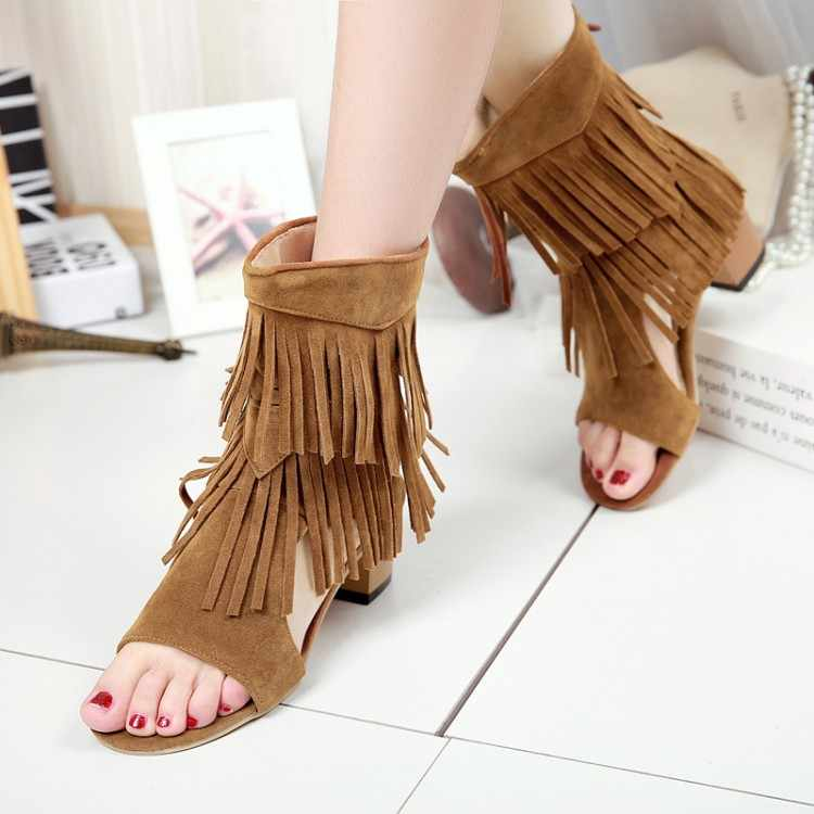 Duży rozmiar 11 12 13 14 15 wysokie obcasy sandały damskie buty kobieta lato panie z otwartymi palcami okrągłe głowy tassel zamek gruby z sandały