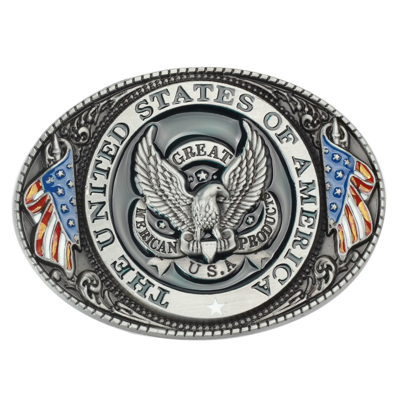 American Eagle Flag Leather Belt Buckle