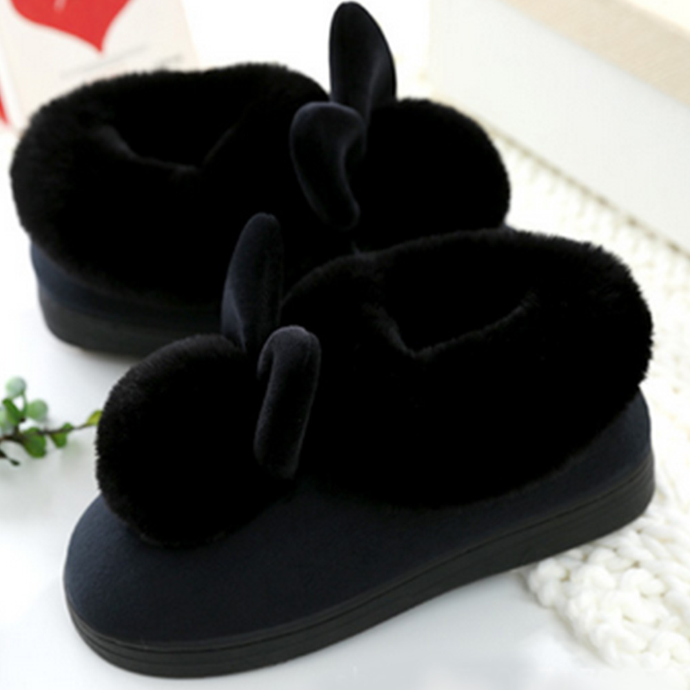 New Women Slippers Furry Rabbit Ears Plush velvet Snow Female Slipper Indoor Home Shoes Plus Size Ladies Soft Comfort Footwear