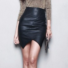 New Asymmetric Short Leather Skirts Women 2017 Sexy Slim Thin Package Hip Saia Feminina High Waist Pencil Skirt S~L Black Jupe