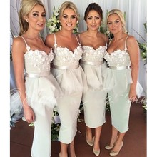 2015 Bridesmaid Dresses Sweetheart Appliques Sashes Pleat Satin Sheath Tea-Length Vestido De Festa Robe Demoiselle D'honneur