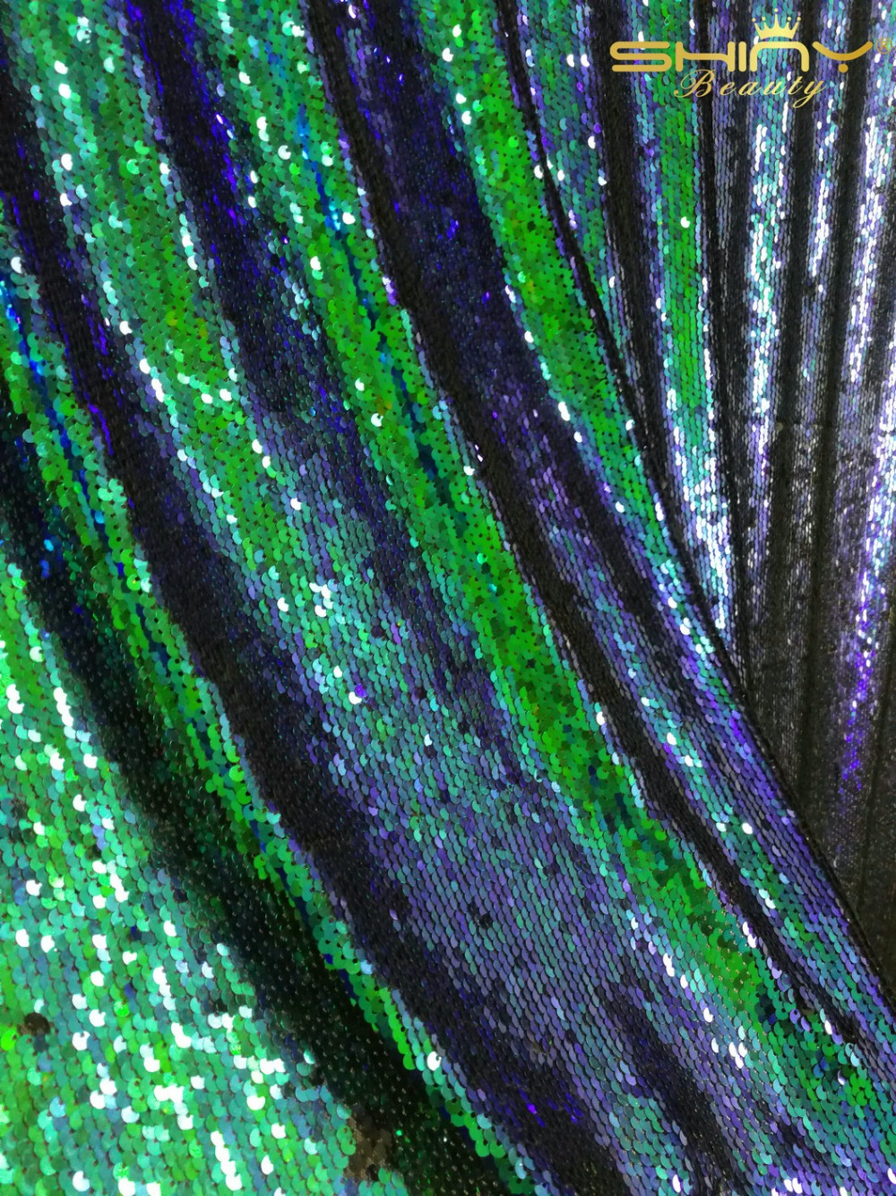 ShinyBeauty 72inch Square Reversiable Sequin tablecloth Green and Black Mermaid Fabric For Wedding Birthday Decoration