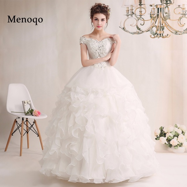 511e345b93f Robe de mariage New Long Real Model Wedding Dress 2019 V Neck Off shoulder  Ball Gown Ruffle Organza Bridal Gowns