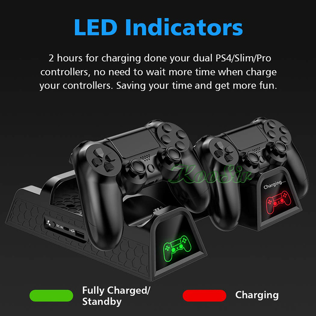 PS4/PS4 Slim/PS4 PRO Console Stand with Cooling Fan Cooler PS 4 Dual Controller Charger Charging Station for SONY Playstation 4 1