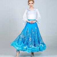 Professional Ballroom Dance Costume Women'S Standard Waltz Tango Competition Dresses Print Big Swing Skirt Tops Dancewear DL3871