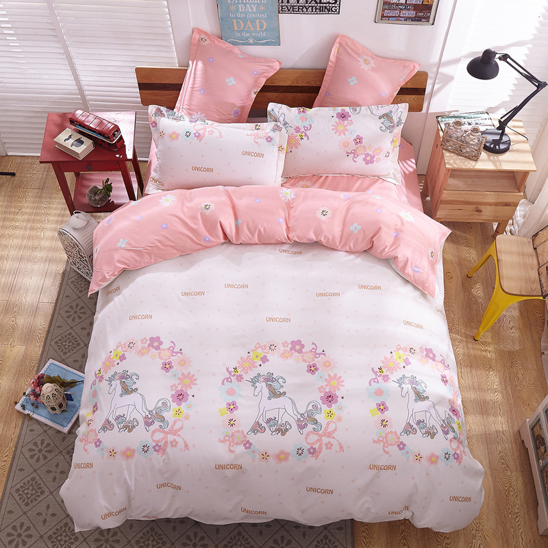 Cartoon Unicorn Bed Linens Bedspread Quilt Cover Fitted Flat Bed Sheet Pillow Cover Twin Size Bedding Duvet Cover Set Queen King