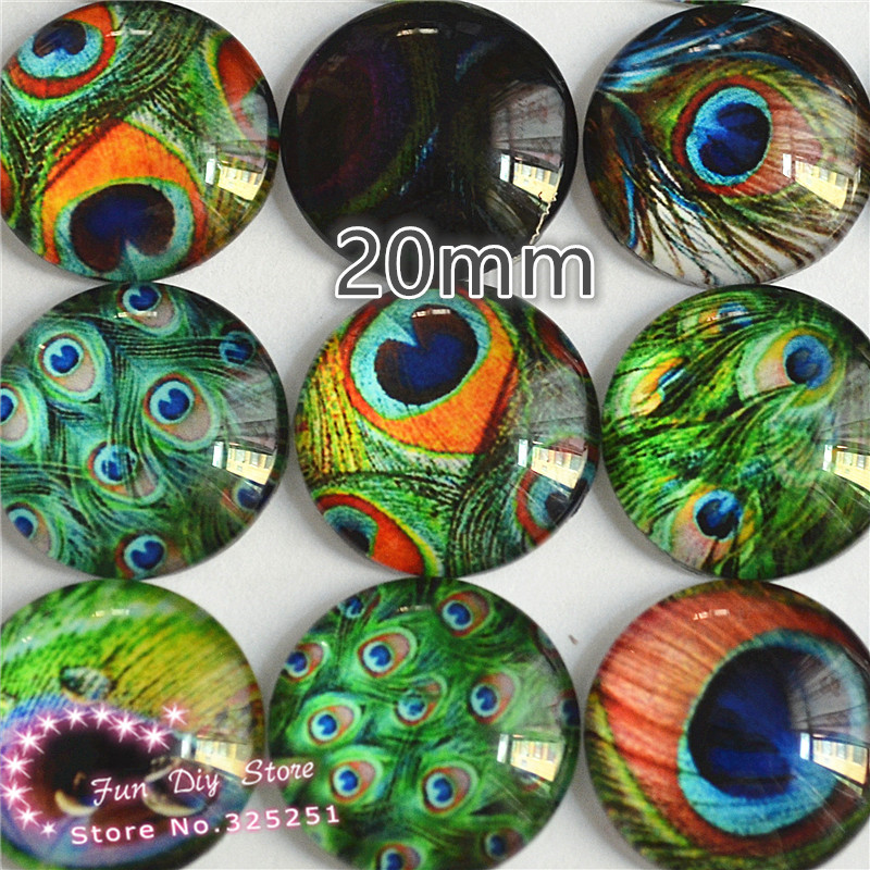 20pcslot 20mm Glass peacock feathers photo Dome jewelry finding DIY accessories GL079