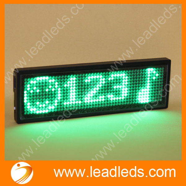 2sets rechargeable and USB Green color LED Programmable Scrolling Name Message Badge Tag Digital Display English Russian