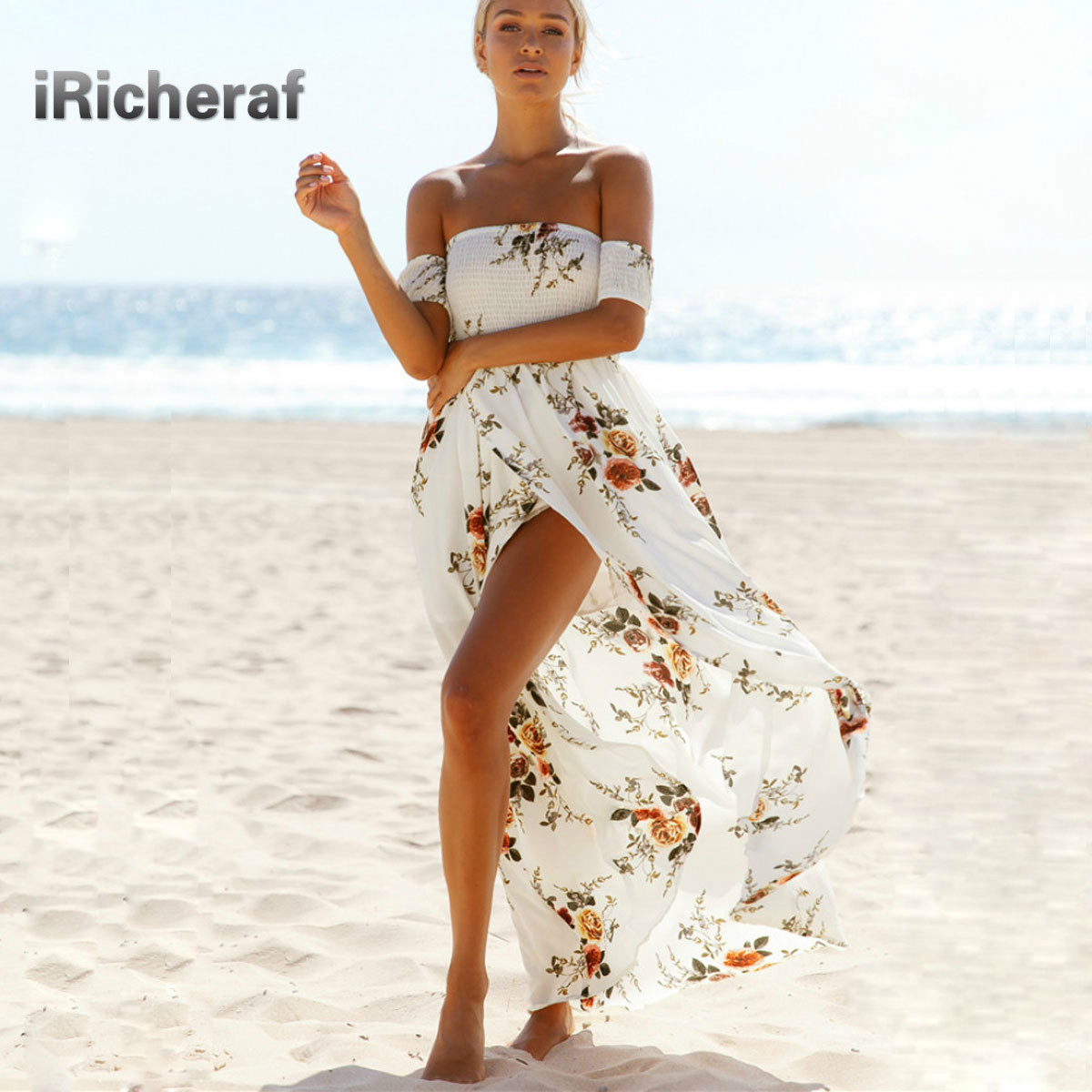 IRicheraf Women Off Shoulder Summer Bohemian Long Beach Dress Vintage Chiffon Maxi Asymmetry Split Dresses Vestidos