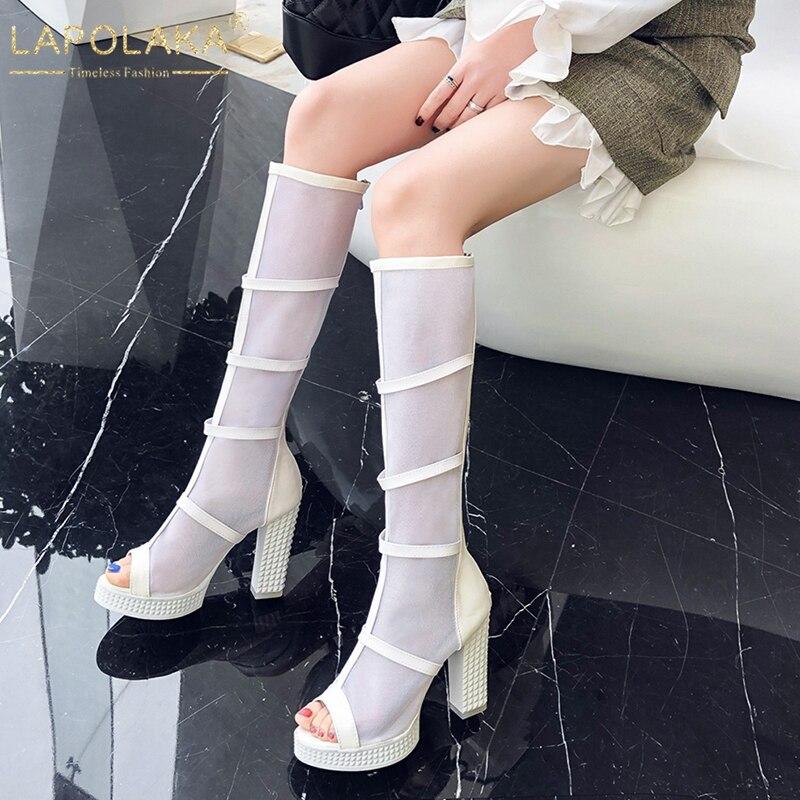 0138ee399 LAPOLAKA/большие размеры 33-43, летние сапоги с открытым носком женская  обувь новые