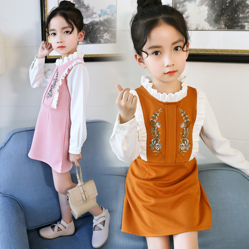 2018 New Spring Children Princess Clothing Long Sleeve Baby Kids Embroidery Dresses for Girls 8 10 12 14 Year Toddler Girl Dress kids girls dresses new brand children s clothing spring models bow star print princess dress 90 130cm