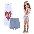 toddler girl clothing set 2016 summer white T shirt+pants denim 2pcs suits high quality letter heart girls toddler clothing sets