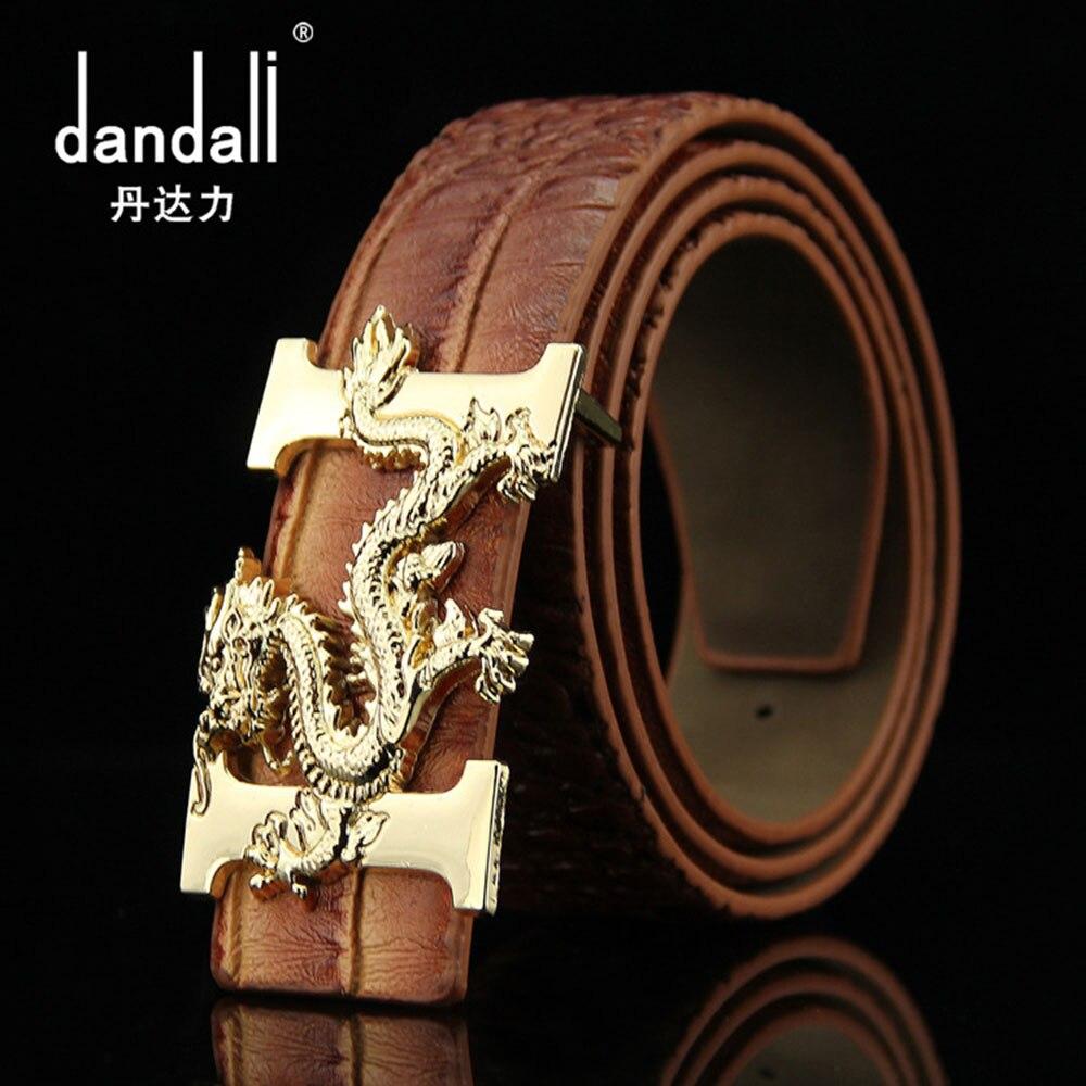 Dandali hombres de lujo de alta calidad de cuero marrón cinturón 2017  hebilla Lisa dragón patrón de cocodrilo pu cinturones Riem vintage 998731bbbf7