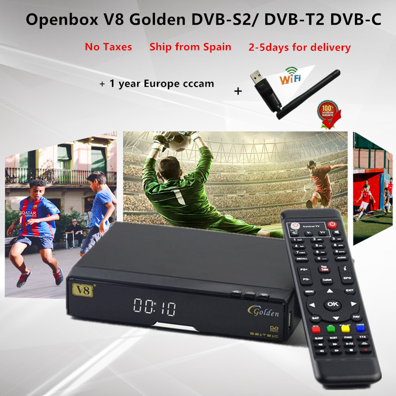 Openbox V8 Golden DVB-S2/ DVB-T2 DVB-C Satellite Receiver with 1 year Europe CCcam 4 Cline USB WIFI Free Shipping Decoder TV Box freesat v7 hd powervu satellite tv receiver dvb s2 with 3months free africa cccam account stable on starsat 5e