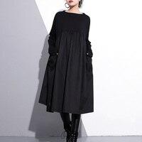 Johnature Fashion Black 2019 Spring Women Dress O Neck Long Sleeve Patchwork Loose A Line Pockets Women Casual Dress
