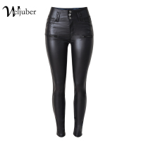 Weljuber 2017 Women PU Leggings Sexy Skinny Pants Women Black Leather Warm Pencil Pants High Waist