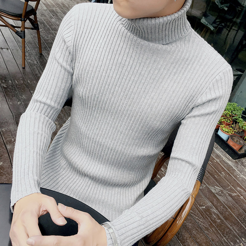 Sweater Pullovers Spring Long-Sleeve High-Neck Fashion Mens Cotton Solid Slim