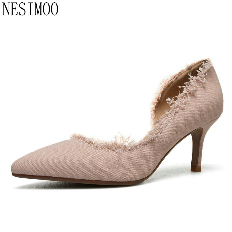 NESIMOO 2018 Women Pumps Fashion Platform Slip on Thin High Heel Shoes Pointed Toe Flock All Match Ladies Pumps Size 34-40 2017 new summer women flock party pumps high heeled shoes thin heel fashion pointed toe high quality mature low uppers yc268