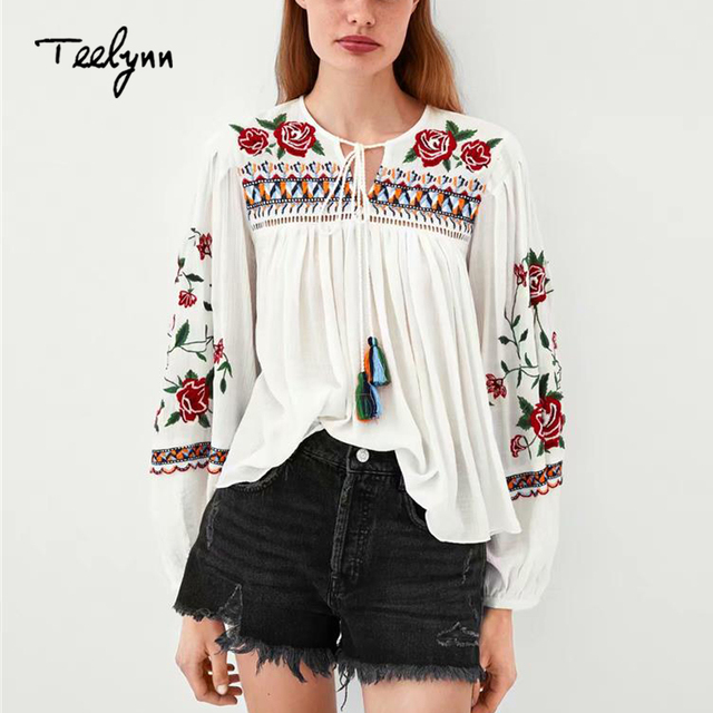 TEELYNN boho Blouse for women white cotton floral embroidered blouses puff long sleeve o-neck loose Casual Women's Blouses blusa