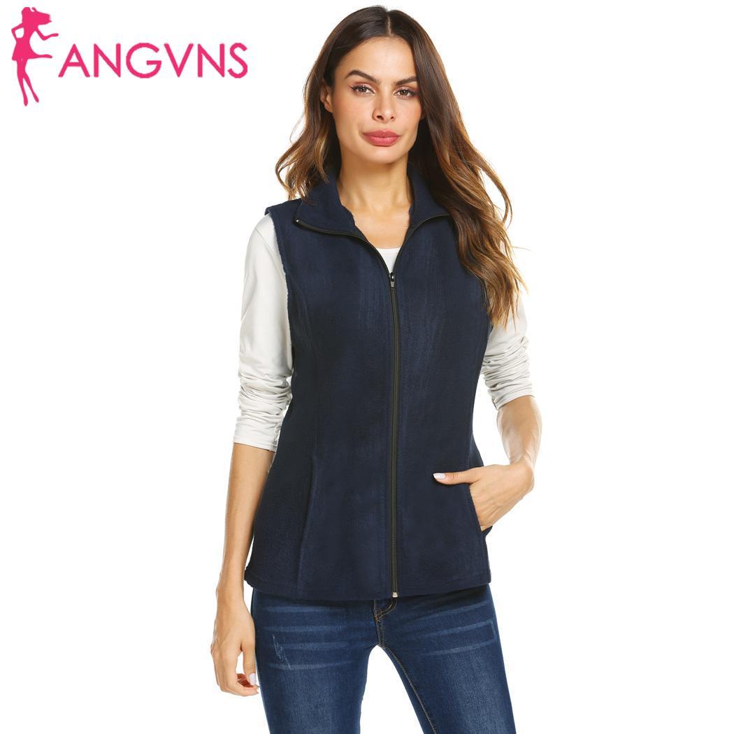 Vest Women Collar Zipper Women Winter Solid Stand-Up Pockets Autumn Side Sleeveless Outwear Regular Vest Slim Casual Outwear