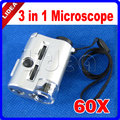 30-60X Portátil Mini Microscopio con Luz LED y la Luz UV Microscopio de Bolsillo Lupa de Los Joyeros Lupa Lupa HK F-36