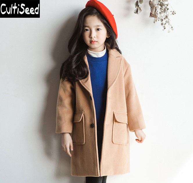 Cultiseed Big Girls Woolen Wool Blends Long Coats Clothes Children Single Breasted Cashmere Outerwear Coat with Pockets grey two side pockets long sleeves outerwear