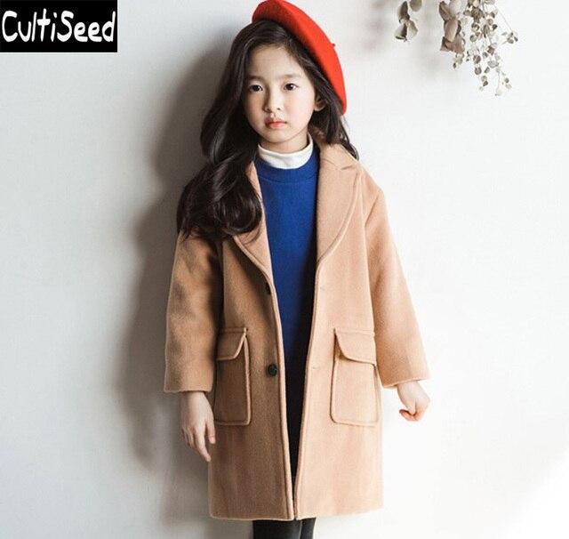 dcfea0859f9e Cultiseed Big Girls Woolen Wool Blends Long Coats Clothes Children ...