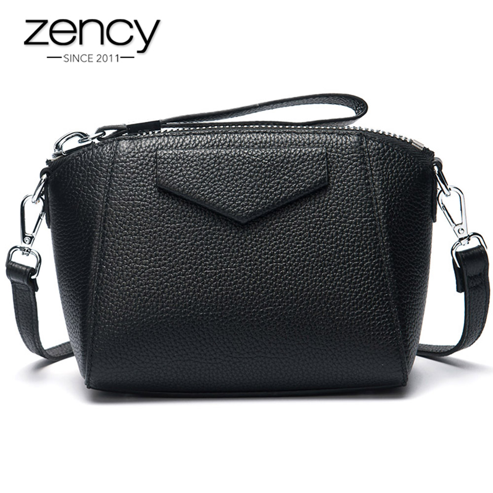 Zency Quality A+ 100% Genuine Leather Women Day Clutches Small Shell Bag Simple Female Shoulder Bags Messenger Crossbody Purse 2018 women bags handmade genuine leather small messenger crossbody bags embossed leather shoulder women bags day clutches