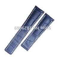Ver accesorios de 22 mm 24 mm azul hombres del cuero genuino reloj correa de la banda sin hebilla