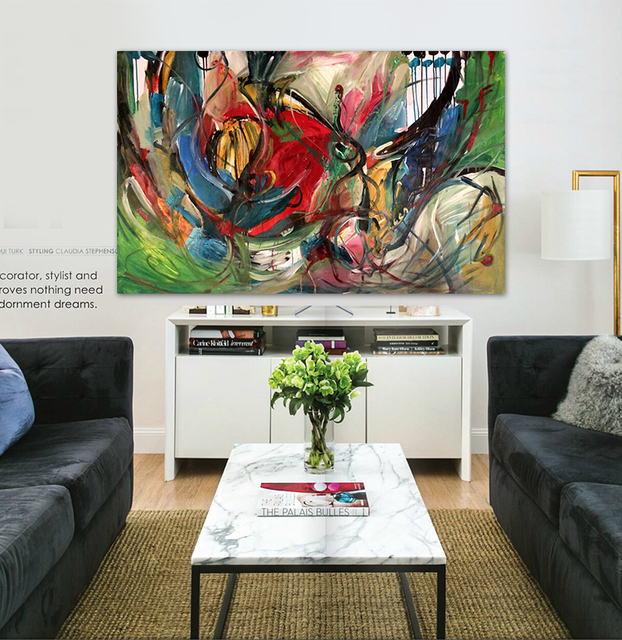 Street Art Graffiti Faction Modern Abstract Painting Red Green Graffiti  Painted Original Home Decor Office Canvas
