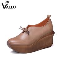 Women S Pumps 2018 Ladies Wedges Shoes Genuine Leather Buckle Platform New Style High Heels Female