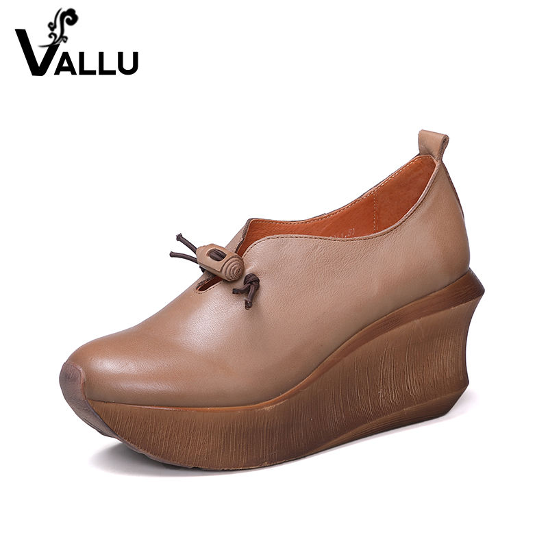 Women' s Pumps 2018 Ladies Wedges Shoes Genuine Leather Buckle Platform New Style High Heels Female Shoes 2017 new women s genuine leather pumps female casual shoes sexy lady medium heels fashion high wedges platform flower slip on