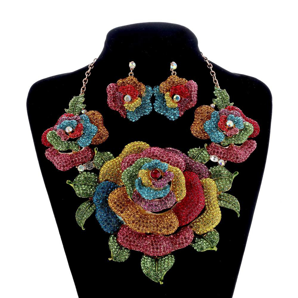 Bridal Jewelry Sets Crystal Rhinestone Exaggerated Flower Wedding Necklace and Earrings Set For Women Trendy Party Jewelry Sets new fashion multicolor crystal exaggerated flower shape necklace and earrings sets for women party bridal wedding jewelry sets