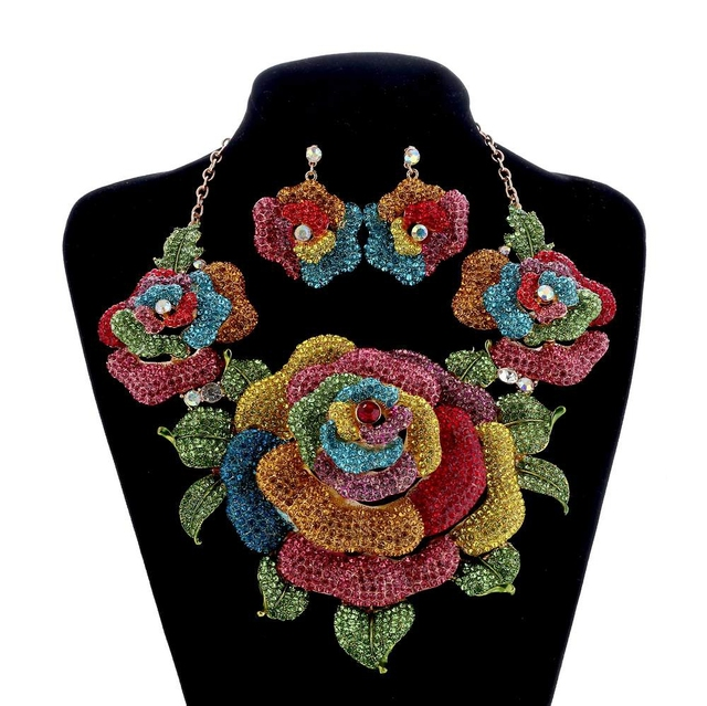Bridal Jewelry Sets Crystal Rhinestone Exaggerated Flower Wedding Necklace and E