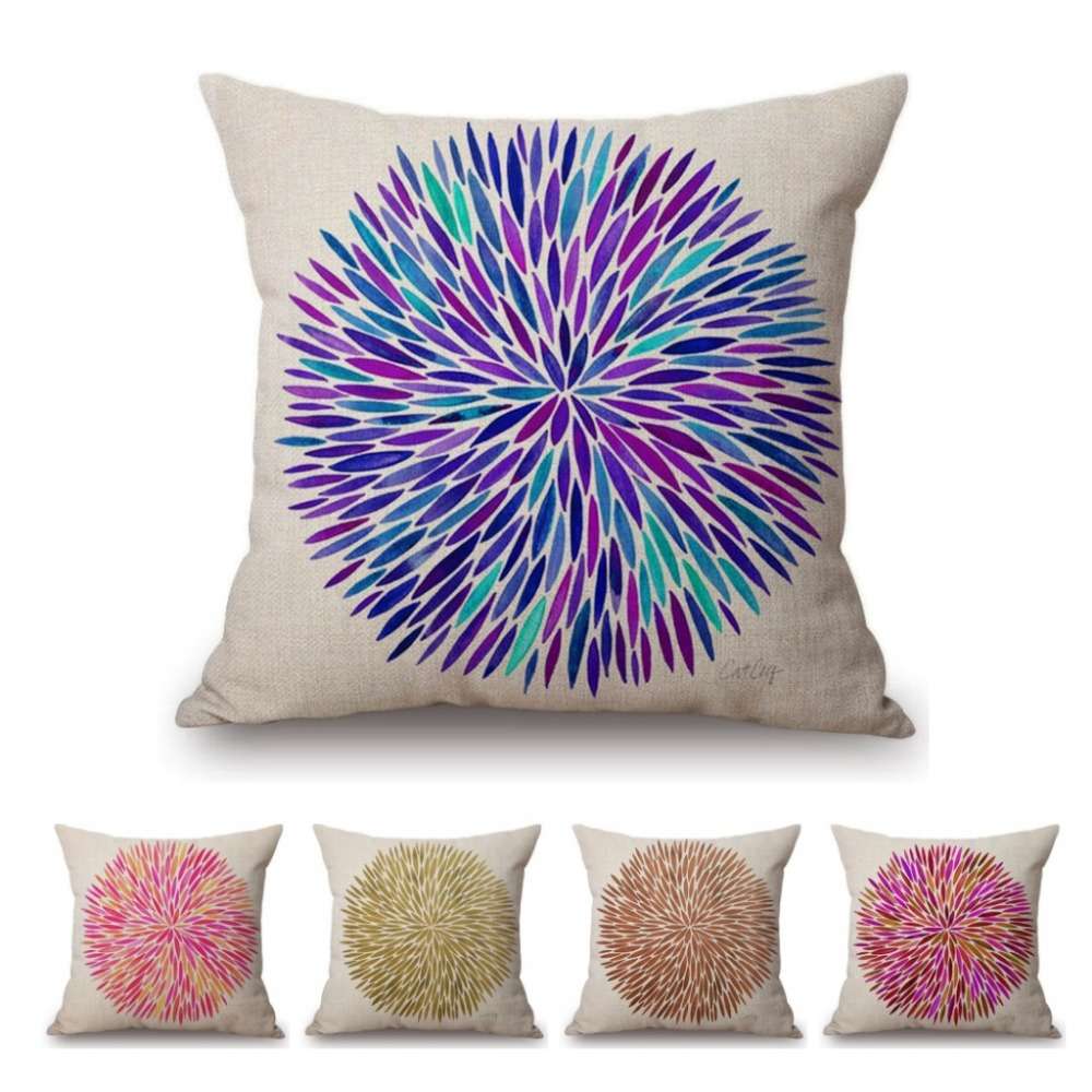 nordic colorful hand drawing small leaf geometry sofa throw pillow cover home decor pillow cases cotton linen pink cushion cover
