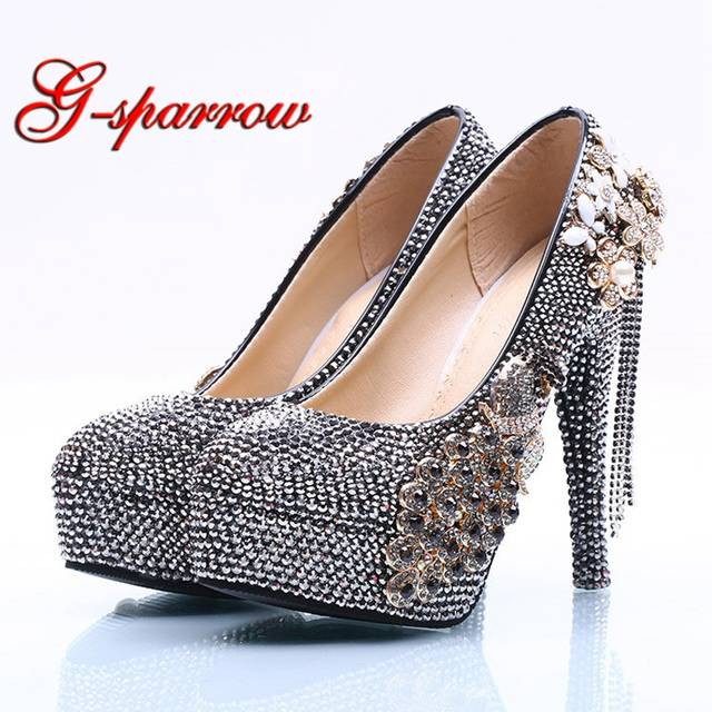 Luxurious Black AB Crystal Wedding Bridal Shoes Rhinestone Formal Dress  Shoes Matric Graduate Farewell Ceremony Pumps. placeholder ... 571fd9737340