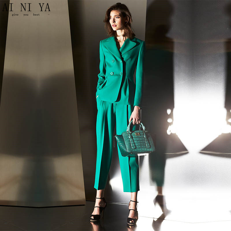Stunning Women Office Business Suits Pants Solid Color Slim Formal Blazer Office Minimalist Styles Slim Ladies Green Pant Suits