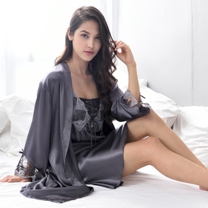 Image 3 - Xifenni Robe Sets Female Sexy Satin Silk Sleepwear Women Lace Embroidery Faux Silk Sleeping Gown Two Piece Bathrobes X9223