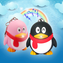 Cute cartoon Penguin LED luminous key chain flashlight mobile car bag accessories pendant creative gift wholesale