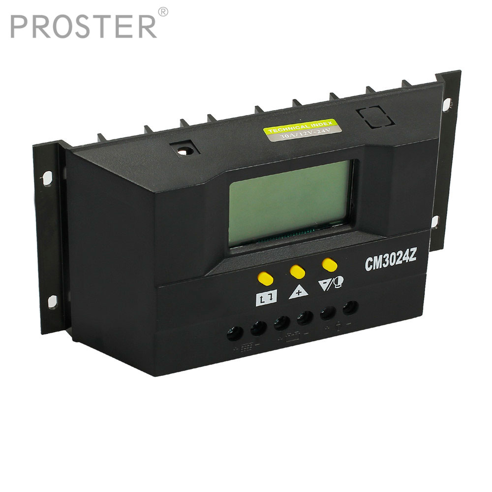 Proster 30A 12/24V Solar Regulator Charge Controller PWM Charge Mode LCD Solar Panels Generator Voltage Current Controller