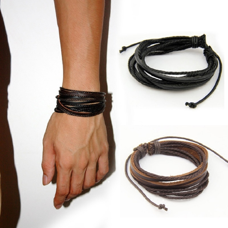 Male Leather Bracelets Bangles For Men Black Brown