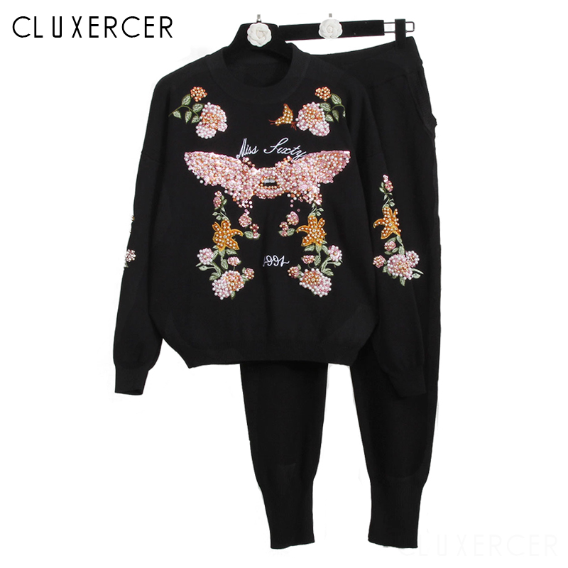 Women Sweater Suit and Sets Casual Knitted Sweaters Pants 2 Piece Track Suits Woman Casual Trousers+Jumper Tops Clothing Set-in Women's Sets from Women's Clothing    1