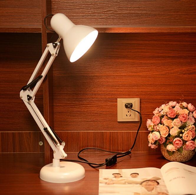 ארוך נדנדה זרוע מתכוונן קלאסי שולחן מנורות E27 LED עם מתג שולחן מנורת עבור משרד קריאת לילה אור ליד מיטת בית