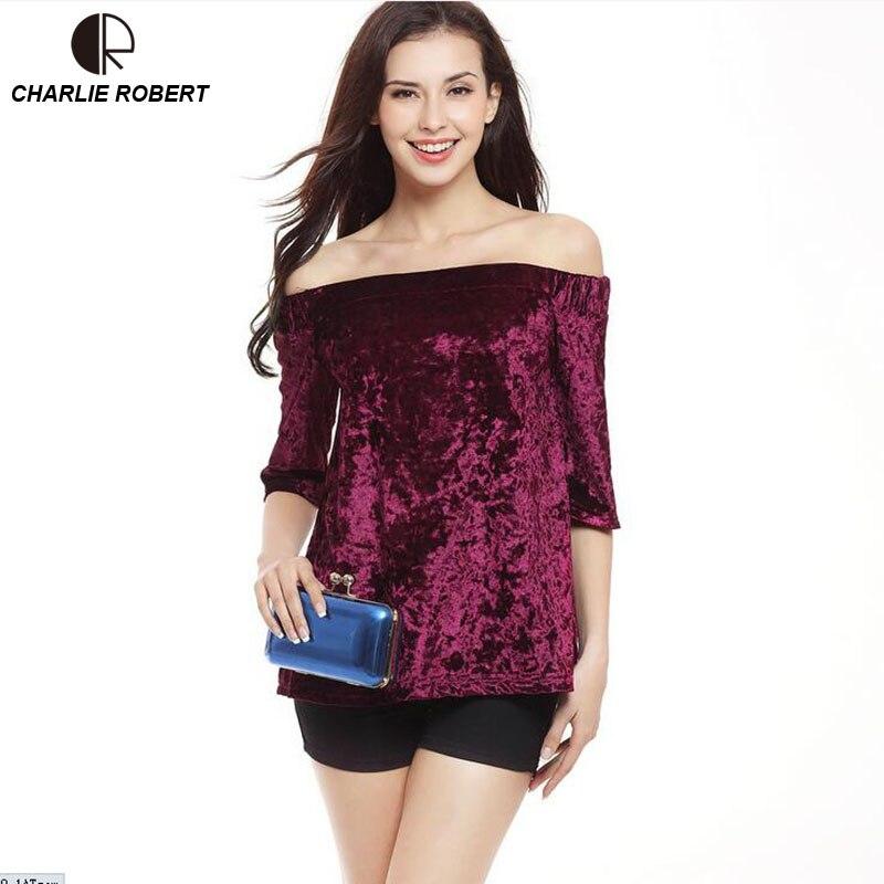 CR 2017 Women Velvet T-Shirt Slash Neck Half Sleeve Loose Tops Plus Size Free Shipping
